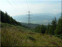 NS1584 : Puck's Glen to Gairletter walk, power lines by william craig