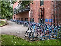 TL4358 : Bicycle racks at Robinson College by Keith Edkins