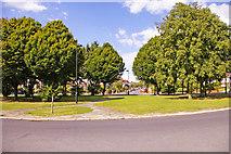 TQ2992 : Footpath across roundabout, Morton Crescent, London N14 by Christine Matthews
