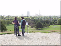 TQ2783 : Primrose Hill viewpoint with orientation plaque by David Hawgood