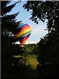 SU9644 : Low flying balloon over River Wey behind Peperharow Road by Phil Rogers