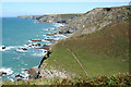 SX0382 : St Teath: coast path by Jacket's Point by Martin Bodman