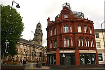 SP0198 : Building Society and Town Hall by Derek Bennett