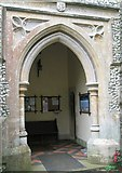 SU7037 : Church porch at St Nicholas, Chawton by Basher Eyre