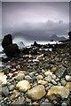 NG5113 : Shoreline, Elgol, Loch Scavaig towards the Cuillin by djmacpherson