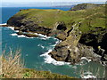 SX0589 : Barras Nose and Tintagel Haven by Jim Champion