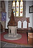 SD4983 : St Peter's Church, Heversham, Cumbria - Font by John Salmon