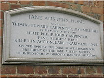 SU7037 : Explanatory plaque on Jane Austen's house, Chawton by Basher Eyre