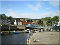 NO4102 : Lower Largo harbour and the bridges. by Richard Law