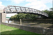 TQ3882 : Disused footbridge over Old River Lee by Dr Neil Clifton