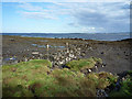 NH6850 : Old stone wall on the shoreline by Julian Paren