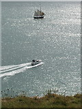SX9456 : Baltic Trader and power boat off Berry Head by David Hawgood