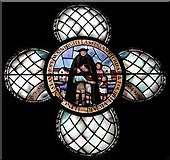 TQ3480 : St Peter's London Docks, Wapping Lane - Window of Fr Wainright by John Salmon