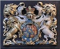 TQ3480 : St Peter's London Docks, Wapping Lane - Royal Arms by John Salmon