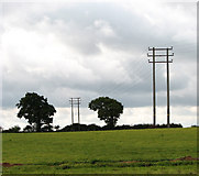 TF9331 : Power lines in field by Thorpland Lodge Farm by Evelyn Simak