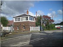 SO4877 : Level crossing near Ludlow (Horse) Racecourse by Row17